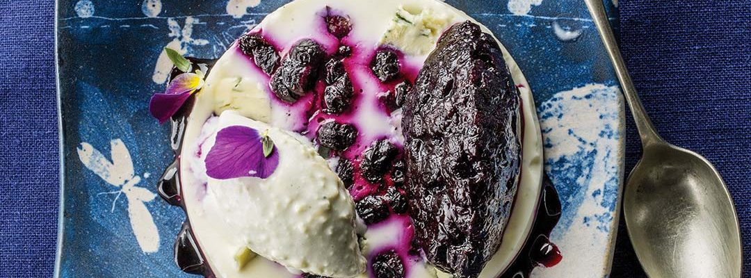 Blueberry and Bleu d'Auvergne panna cotta